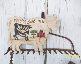 Handpainted Wooden Cow Shape With Primitive Scene | Morning Sunshine Cow Sign