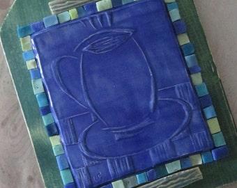Memoir Mixed Media Assemblage Un-mosaic Coffee Mug in Blue and Green