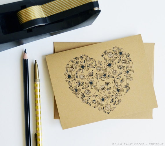 Set of FOUR Floral Folded Note Cards, Stationery, Hand Drawn, Illustration, Flowers, Flora, Notecards, Greeting Cards