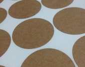 Large Round Brown Kraft Labels - 2 Inch Diameter Sheet Labels for Laserjet or Inkjet Printing - set of 40