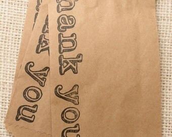 Set of 25 - Thank You Favor or Merchandise Bags - Recycled Brown Kraft - 4 x 6