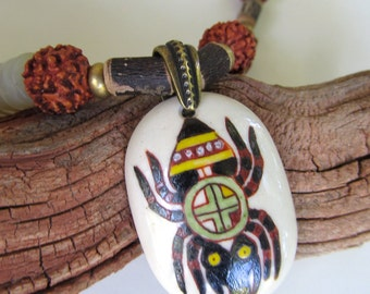 Native American Spider Pendant Necklace in Rust, Brown, and Green