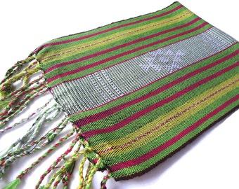 Table Runner, Songket, Handwoven Textile from East Timor, Green, Pink