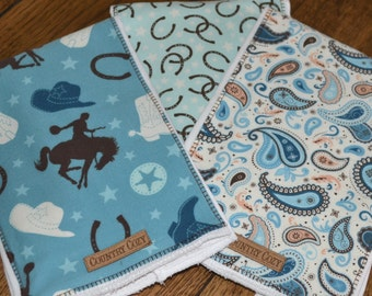 Western Cowboy Baby Burp Cloths Set of 3 Round Up SPECIAL ORDER ITEM