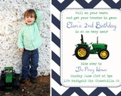 Tractor Birthday Invitation YOU PRINT 4x6 or 5x7