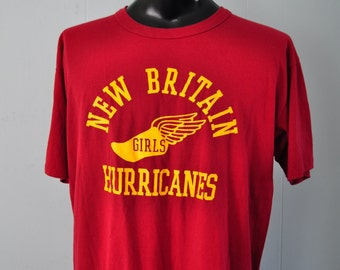 Vintage Girls Track Field New Britain CT Maroon Red Tshirt Tee Goldenrod Gold running sports XL