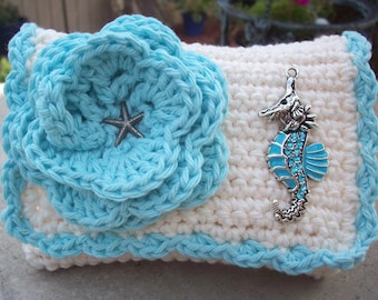 HALF PRICE CLEARANCE  ~  Crocheted Purse  ~  Aqua and Cream with Sea Horse  Crocheted Cotton Little Bit Purse