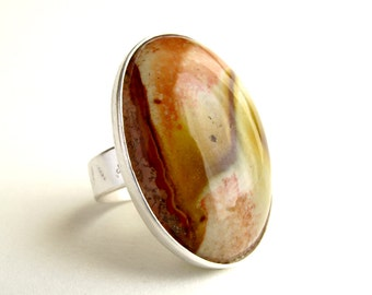 Jasper Ring Sterling Silver Ring With Natural Jasper In Cabochon Landscape Jasper Jewelry