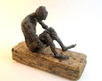 Earth, Wire, Beeswax, Marble, Male Figure, Sculpture