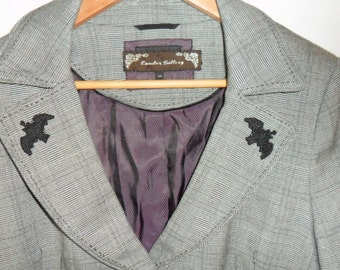 Steampunk  Ladies 'Batty' Grey Fitted Jacket UK 14.