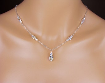 Swarovski Crystal Bridesmaid Necklace  Sterling Silver Bridesmaid Necklace Teardrop Crystal Chaney