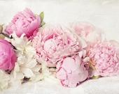 Peony photograph,pink peonies,shabby chic, fine art print, floral photography, pink, aqua,cottage decor