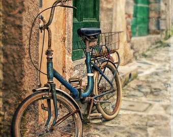 """Italy photograph, """"Blue bicycle"""" Italy,Fine art Print,travel photography,Cinque Terre,architecture,home decor,rustic,bicycle"""