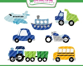 Instant Download Digital Clipart Set SIMPLE TRANSPORTATION 7 Images
