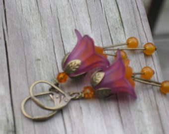 Purple and Orange Lily Earrings
