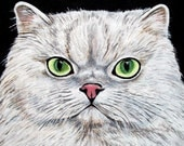 "Cat note card - White cat with green eyes - printed ACEO - handmade greeting card - 5.5"" x 4.25"" card"
