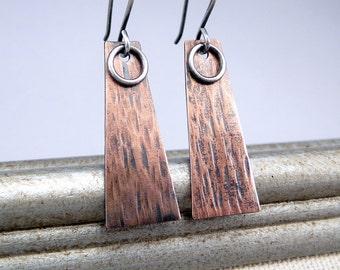 Copper Earrings, Minimalist Earrings, Mixed Metal Earrings, Rustic Earrings, Hammered Copper, Copper Gift, Copper Dangles, Organic Earrings