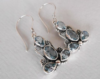 Elegant Silver sterling Topaz gemstones  Dangle Earrings / silver 925 / Bali jewelry handmade / 1.3 inch long