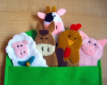 More Farm animals finger felt puppets teaching learning toy