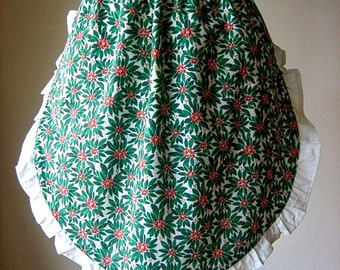 APRON Kitchen Pinafore Cook Chef Skirt Cover Vintage Cotton CHRISTMAS Holiday