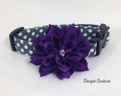 Brand New Perfectly Plum Dot Dog Collar Size XS through Large by Doogie Couture