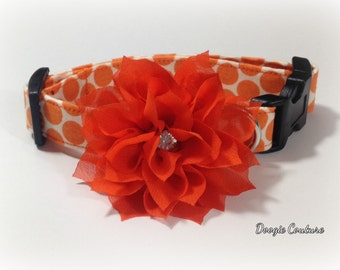 Vibrant Orange Dots Dog Collar Size XS through Large by Doogie Couture