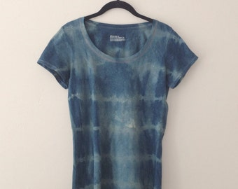 Upcycled Shibori Blue and Gray Women's Scoop Neck Tee