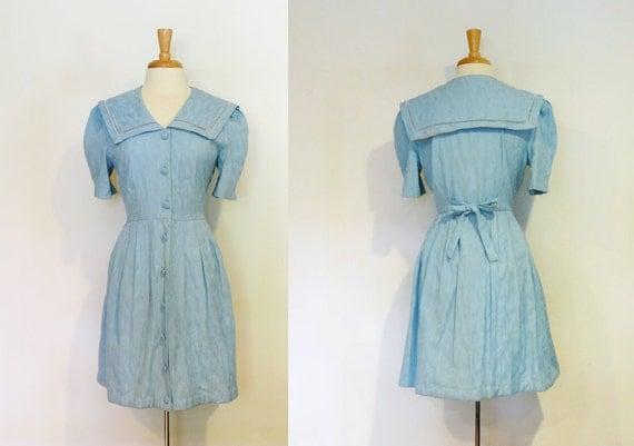 SALE Vintage 1980s Sunshine Starshine Blue Sailor Dress