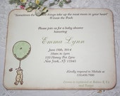 Winnie the Pooh Shower Invitation - Green Balloon - Birthday - Neutral Party - Christening - Baptism - Set of 10