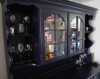 Navy Black Chalk Painted Hutch and Bar