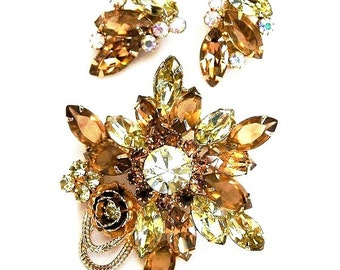 Schrager Unsigned Topaz and Jonquil Brooch Set,Schrager Topaz and Jonquil Demi Parure