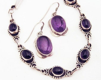 Sterling and Amethyst Demi Parure French Pierced Ear Wires