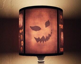Evil Pumpkin lamp shade - halloween decor, jack o lantern, halloween decorations, dark decor, horror movie, classic horror, geekery