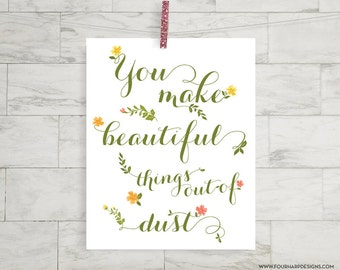 "Inspirational Scripture Art Print - ""Beautiful Things"" - home decor, nursery, kids room"