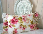 English Cottage Style Romantic Shabby Chic Pillow with Roses and Ruffles