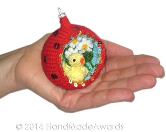Easter Diorama Ball CHICK with Daisies Ornament Pdf Email Knit PATTERN