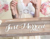 Rustic Just Married Wedding Sign Country Barn Wood NEW 2014 Design by Morgann Hill Designs (Item Number MHD20045)