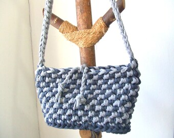 KNITTED BAG - Purse, t-shirt yarn, recycled yarn, crochet, in soft gray and dark gray color