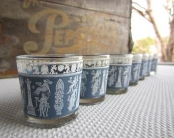 Vintage Corinthian Blue Jeannette Glass Greek Roman Small Glasses
