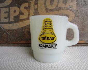 Vintage Midas Brake Stop Milk Glass Mug Advertising Anchor Hocking