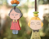 DiDi -Ceramic Doll--Marionette---home decor- can be part of a moblie.yellow- green-Chrsitmas gift--Gift under 50 USD
