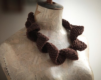 Textile jewelry---Unique Knitting necklace-Fiber jewelry--Curly necklace-Jewelry -Cotton- Brown --gift for her--Gift under 40 USD