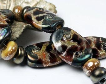 Lampwork Glass Beads Set Organic Iridescent Black Brown 'Tortoise Shell'