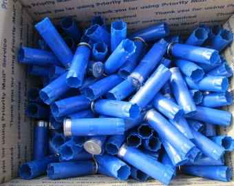 200 pcs lot blue Federal shotgun shell hulls 12 GA gauge empty shot gun shells bulk lot empties fired bullets silver tone ends