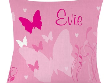 Personalised childrens name Butterfly cushion / pillow