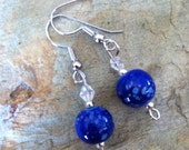 Blue and Silver Glass Bead Earring Set (307)