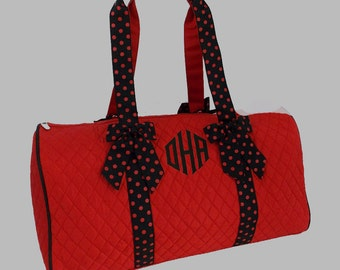 Monogrammed Duffle Bag Red With Black Trim-Personalization Included-Dance Recital-Travel-Gymnastics
