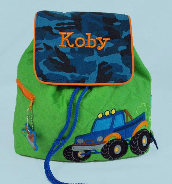 Personalized Stephen Joseph Quilted Backpack TRUCK themed in Blue CAMO and Bright Green With Orange Trim