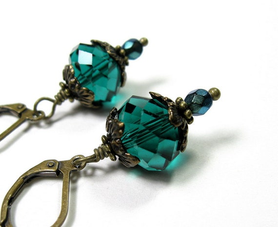 Teal Czech Glass Vintage Style Dangle Earrings, Victorian Style, Blue Green, Cyan, Antiqued Brass, For Her, Womens Accessories, Fashion