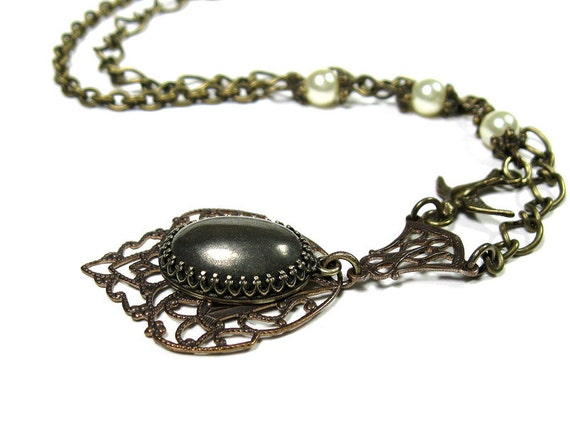 Smoky Grey, Pyrite Gemstone Cabochon, Victorian Style, Pendant Necklace, Crown Setting, Natural Stone, Vintaj Brass, Ivory Swarovski Pearls